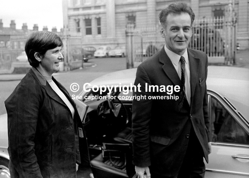 Frank Gogarty, prominent member, N Ireland Civil Rights Association, NICRA, is met by his wife after leaving Crumlin Road Jail, Belfast, on completing  4 months of a 6 months sentence for a public order offence. 25th June 1971. 197106250251FG3.<br />