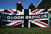 3rd February 2019, Trailfinders Sports Ground, London, England; Betfred Super League rugby, London Broncos versus Wakefield Trinity; Union Jack with custom London Broncos colours