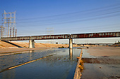Railroad Bridge over Los Angeles River, Bell, Los Angeles County, California, USA