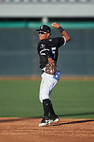 AZL White Sox second baseman Jose Rodriguez (5) throws to first base during an Arizona League game against the AZL Royals at Camelback Ranch on June 19, 2019 in Glendale, Arizona. AZL White Sox defeated AZL Royals 4-2. (Zachary Lucy/Four Seam Images)