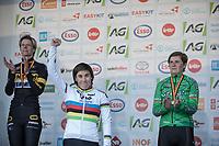 Podium:<br /> <br /> 1st place: Sanne Cant (BEL/Iko-Beobank)<br /> 2nd place: Ellen Van Loy (BEL/Telenet Fidea Lions)<br /> 3th place: Loes Sels (BEL/Crelan Charles)<br /> <br /> Women's Race<br /> Belgian National Cyclocross Championships 2018 / Koksijde
