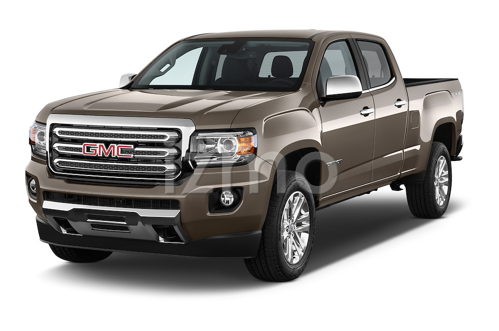 2015 GMC Canyon SLT Crew Cab SWB 4 Door Truck Angular Front stock photos of front three quarter view