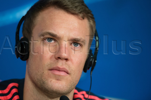 04.04.2016. Munich, Germany.   Goalkeeper Manuel Neuer of German Bundesliga  team FC Bayern Munich at a final press conference at Allianz Arena in Munich, Germany, 4 April 2016. Bayern Munich meets Sport Lisbon Benfica (S.L. Benfica) in the first leg match of the Champions League quarter finals on 5th April 2016.