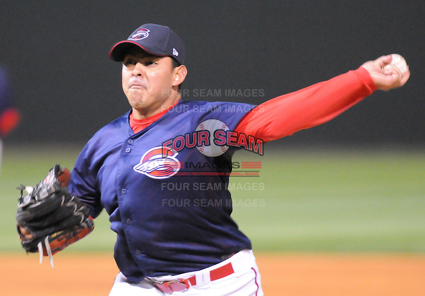 April 7, 2009: Armando Zerpa of the Greenville Drive pitches in a game against Wofford College on Tuesday, April 7, 2009, at Fluor Field in Greenville. Photo by:  Tom Priddy/Four Seam Images