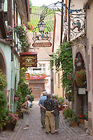 side street riquewihr alsace france