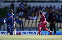 February 26th 2020, the Mahinda Rajapaksha International Stadium, Hambantota, Sri Lanka; One Day International cricket, Sri Lanka versus West Indies; Fabian Allen bowls to Avishka Fernando