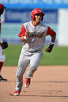 Williamsport Crosscutters shortstop Emmanuel Marrero (18) running the bases during the first game of a doubleheader against the Batavia Muckdogs on July 29, 2014 at Dwyer Stadium in Batavia, New York.  Williamsport defeated Batavia 3-2.  (Mike Janes/Four Seam Images)