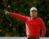 16.10.2014. The London Golf Club, Ash, England. The Volvo World Match Play Golf Championship.  Day 2 group stage matches.  Joost Luiten [NED] signals his tee shot on the third hole.
