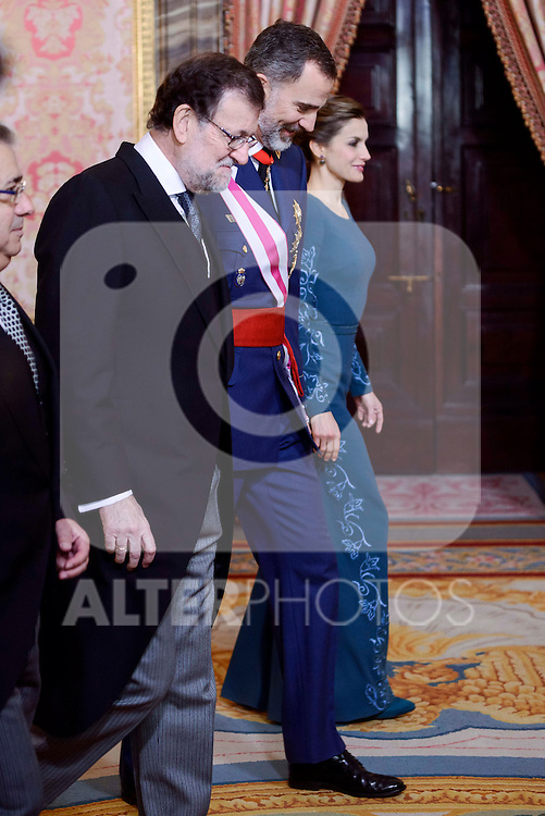 President Mariano Rajoy, King Felipe VI and Queen Letizia during the Military Easter at Royal Palace in Madrid, Spain. January 06, 2017. (ALTERPHOTOS/BorjaB.Hojas)