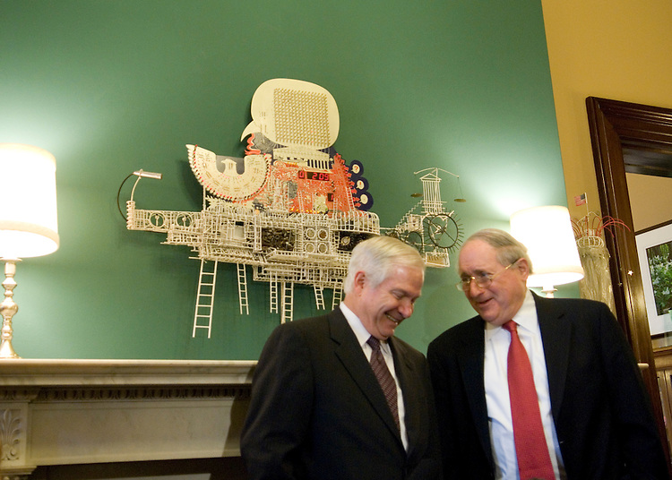Defense Secretary nominee Robert Gates meets with incoming chairman of the Senate Armed Services Committee, Carl Levin, D-Mich., in Levin's office on Capitol Hill on Monday, Nov. 20, 2006.
