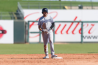 Peoria Javelinas third baseman Hudson Potts (13), of the San Diego Padres organization, stands on second base during an Arizona Fall League game against the Surprise Saguaros at Surprise Stadium on October 17, 2018 in Surprise, Arizona. (Zachary Lucy/Four Seam Images)