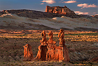 751000021 temple mountain and hoodoo formations in the high desert of goblin valley state park utah united states
