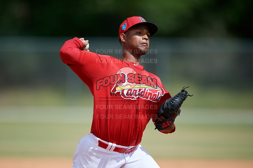St. Louis Cardinals pitcher Brian Pirela (33) during a Minor League Spring Training game against the Miami Marlins on March 26, 2018 at the Roger Dean Stadium Complex in Jupiter, Florida.  (Mike Janes/Four Seam Images)
