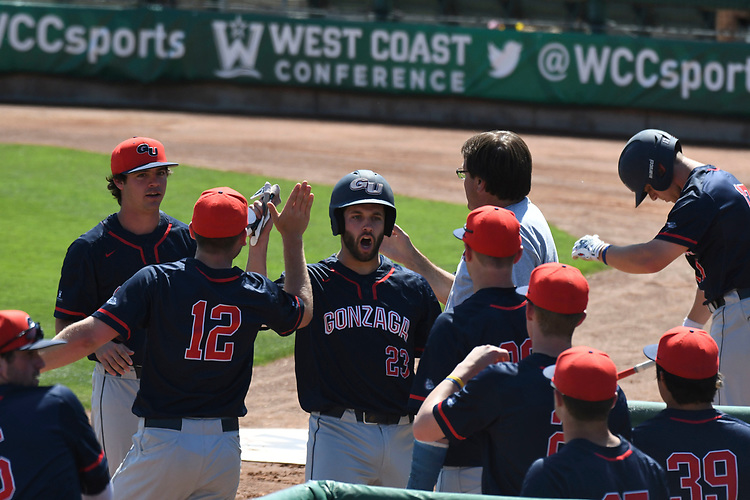 May 27, 2017; Stockton, CA, USA; Gonzaga Bulldogs catcher Jake Roberts during the WCC Baseball Championship at Banner Island Ballpark.