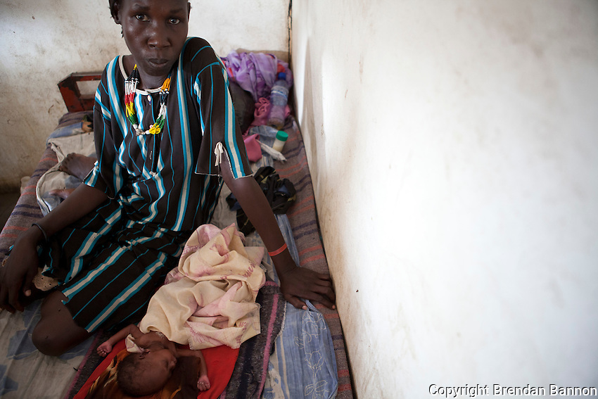 A malnourished child and his mother at the therapeutic feeding center in the MSF (Doctors Without Borders) hospital in Nasir, South Sudan.