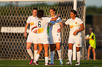Western New York Flash midfielder Carli Lloyd (10) celebrates scoring with teammates  during the first half against Sky Blue FC during a National Women's Soccer League (NWSL) match at Yurcak Field in Piscataway, NJ, on June 8, 2013.