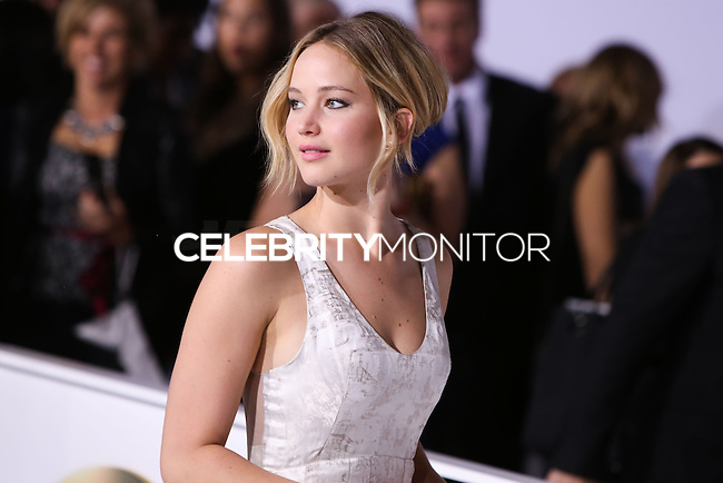 LOS ANGELES, CA, USA - NOVEMBER 17: Jennifer Lawrence arrives at the Los Angeles Premiere Of Lionsgate's 'The Hunger Games: Mockingjay, Part 1' held at Nokia Theatre L.A. Live on November 17, 2014 in Los Angeles, California, United States. (Photo by Xavier Collin/Celebrity Monitor)