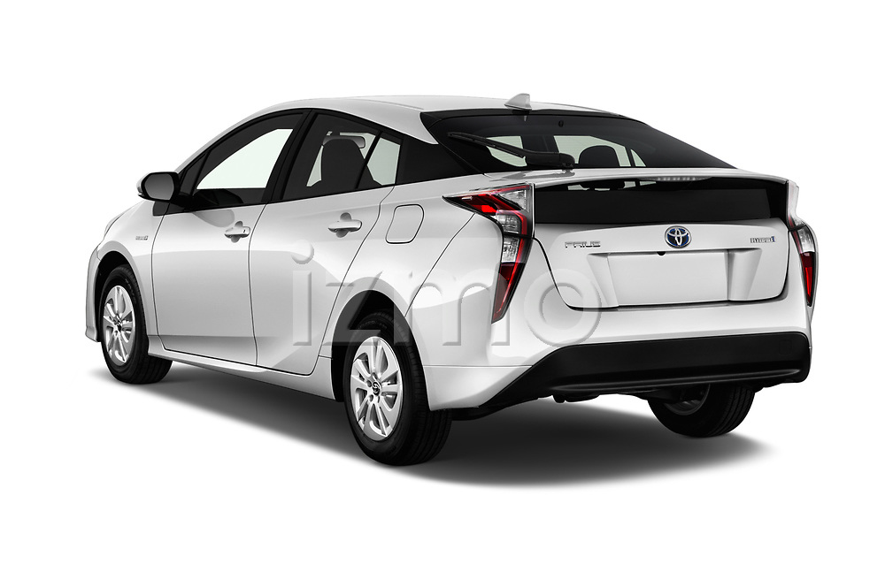 Car pictures of rear three quarter view of 2017 Toyota Prius Two 5 Door Hatchback Angular Rear