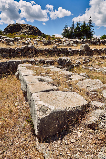 Dressed stone blocks of Temple I store room walls, Hattusa (also Ḫattuša or Hattusas) late Anatolian Bronze Age capital of the Hittite Empire. Hittite archaeological site and ruins, Boğazkale, Turkey.