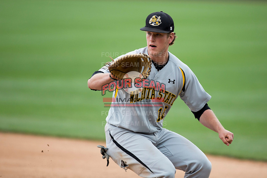 Casey Gillaspie #16 of the Wichita State Shockers looks to field a ground ball during a game against the Missouri State Bears at Hammons Field on May 5, 2013 in Springfield, Missouri. (David Welker/Four Seam Images)