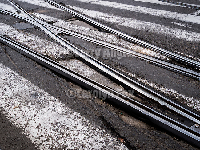 Trolly tracks along Aleksandra Bulivard, Belgrade, Serbia