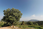Israel, Lower Galilee. Beth Keshet scenic road, Mount Tabor is in the background