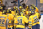 March 26,  2011                      University of Michigan players celebrate their victory over Colorado College 2-1 in the championship game of the NCAA Division 1 Men's West Regional Hockey Tournament, on Saturday March 26, 2011 at the Scottrade Center in downtown St. Louis.