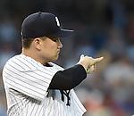 Masahiro Tanaka (Yankees), JUNE 9, 2015 - MLB : New York Yankees starting pitcher Masahiro Tanaka gestures during a baseball game against the Washington Nationals at Yankee Stadium in New York, United States. (Photo by AFLO)