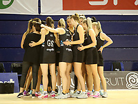 JOHANNESBURG, SOUTH AFRICA - JANUARY 28: The Silver Ferns huddle before the Netball Quad Series netball match between Diamonds and Silver Ferns at the Ellis Park Arena in Johannesburg. Mandatory Photo Credit: ©Reg Caldecott/Michael Bradley Photography