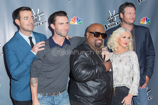"UNIVERSAL CITY, CA - NOVEMBER 07: Cee Lo Green, Christina Aguilera, Adam Levine, Carson Daly and Blake Shelton  at NBC's ""The Voice"" Season 5 Top 12 in Universal City Plaza, on November 7th, 2013 in Universal City, California Photo Credt: RTNRossi / MediaPunch Inc."