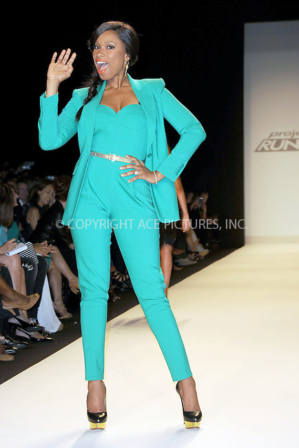 WWW.ACEPIXS.COM . . . . . .September 7, 2012...New York City.....Singer Jennifer Hudson walks the runway at the Project Runway Spring 2013 fashion show during Mercedes-Benz Fashion Week on September 7, 2012 ...Please byline: KRISTIN CALLAHAN - ACEPIXS.COM.. . . . . . ..Ace Pictures, Inc: ..tel: (212) 243 8787 or (646) 769 0430..e-mail: info@acepixs.com..web: http://www.acepixs.com .