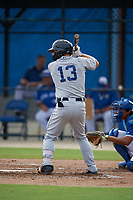 GCL Tigers West Jared Mang (13) bats during a Gulf Coast League game against the GCL Blue Jays on August 3, 2019 at the Englebert Complex in Dunedin, Florida.  GCL Blue Jays defeated the GCL Tigers West 4-3.  (Mike Janes/Four Seam Images)