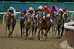 ELMONT, NY - JUNE 09: Justify  #1, ridden by Mike Smith leads the field as they enter the stretch during the 150th running of the Belmont Stakes at Belmont Park on June 9, 2018 in Elmont, New York. (Photo by Dan Heary/Eclipse Sportswire/Getty Images)