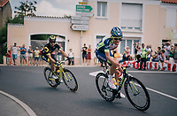 Yoann Offredo (FRA/Wanty-Groupe Gobert) in the day's breakaway having a cookie along the way<br /> <br /> Stage 1: Noirmoutier-en-l'&Icirc;le &gt; Fontenay-le-Comte (189km)<br /> <br /> Le Grand D&eacute;part 2018<br /> 105th Tour de France 2018<br /> &copy;kramon