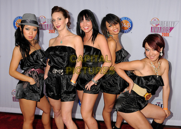 """We Are Heroes"" from ""America's Best Dance Crew"".2009 Fox Reality Channel Really Awards held at the Music Box Theatre, Hollywood, California, USA..October 13th, 2009.half length 3/4 bending posing black silk satin strapless dress grey gray fedora trilby hat playsuit matching outfits .CAP/ADM/BP.©Byron Purvis/AdMedia/Capital Pictures."