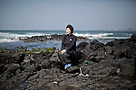 JEJU ISLAND, SOUTH KOREA, APRIL 2011:  Lee Taehee, 59 years, she is Haenyo  since 30 years