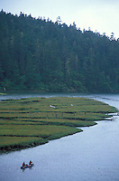 People Canoeing up Big River, Mendocino California