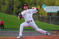 Wisconsin Timber Rattlers pitcher Jake Drossner (26) delivers a pitch during a Midwest League game against the Clinton LumberKings on May 9th, 2016 at Fox Cities Stadium in Appleton, Wisconsin.  Clinton defeated Wisconsin 6-3. (Brad Krause/Four Seam Images)