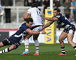 Danny Cipriani of Sale Sharks tackles Rob Miller of Wasps - Aviva Premiership - Sale Sharks vs Wasps  - AJ Bell Stadium - Salford, Manchester - 5th October 2014  - Picture Simon Bellis/Sportimage