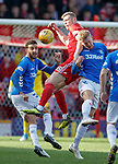 03.03.2019 Aberdeen v Rangers: Sam Cosgrove with Connor Goldson and Joe Worrall