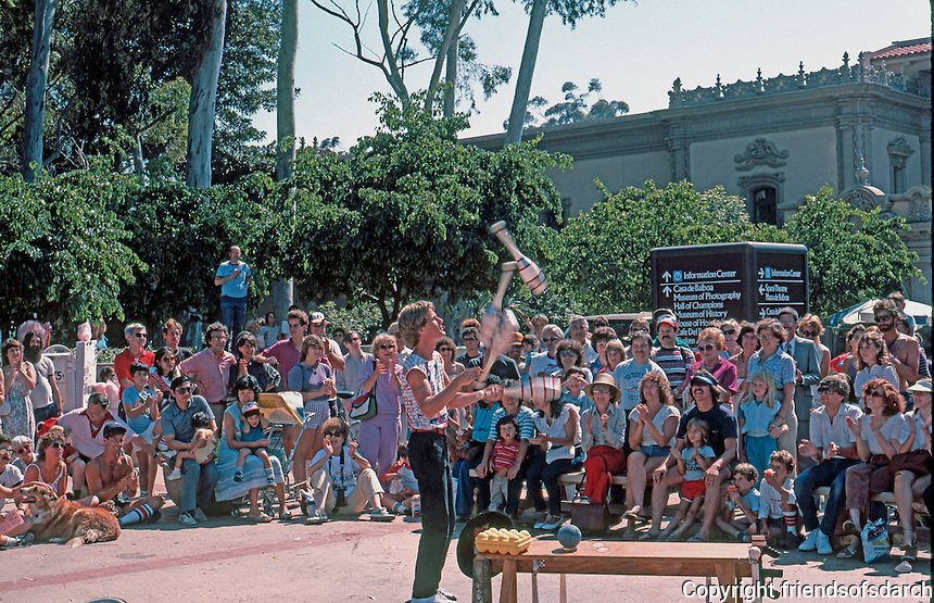 San Diego: Balboa Park Juggler.  (Photo 1984)
