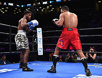 "BROOKLYN - JANUARY 26: Chordale Booker and Juan De Angel during their middleweight fight on the ""FOX PBC Fight Night: Thurman vs. Lopez"" at Barclays Arena on January 26, 2019, in Brooklyn, New York. (Photo by Frank Micelotta/Fox Sports/PictureGroup)"