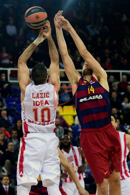Turkish Airlines Euroleague 2016/2017.<br /> Regular Season - Round 28.<br /> FC Barcelona Lassa vs Crvena Zvezda MTS Belgrade: 67-54.<br /> Branko Lazic vs Aleksandar Vezenkov.