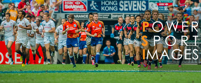 Hong Kong play United States in the Bowl Semi-Final on Day 3 of the Cathay Pacific / HSBC Hong Kong Sevens 2013 on 24 March 2013 at Hong Kong Stadium, Hong Kong. Photo by Manuel Queimadelos / The Power of Sport Images