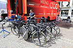 CCC Team Giant bikes lined up outside the team bus before Stage 1 of the 2019 Giro d'Italia, an individual time trial running 8km from Bologna to the Sanctuary of San Luca, Bologna, Italy. 11th May 2019.<br /> Picture: Eoin Clarke | Cyclefile<br /> <br /> All photos usage must carry mandatory copyright credit (© Cyclefile | Eoin Clarke)