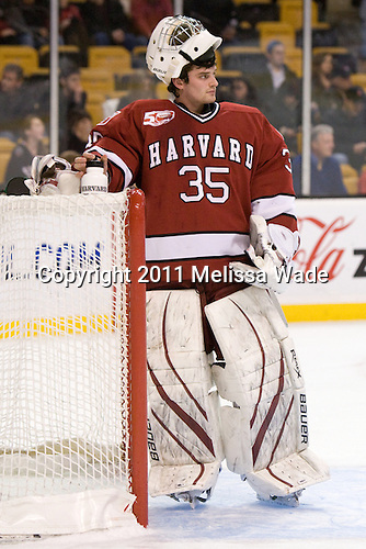 Ryan Carroll (Harvard - 35) - The Northeastern University Huskies defeated the Harvard University Crimson 4-0 in their Beanpot opener on Monday, February 7, 2011, at TD Garden in Boston, Massachusetts.