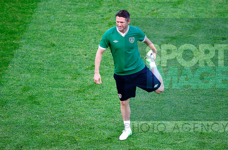 Robbie Keane of Republic of Ireland in action..Euro 2012, Republic of Ireland press conference and training session at Arena Gdansk, Gdansk, Poland on the 13th June 2012. Pic Jake Badger/SPORTIMAGE...