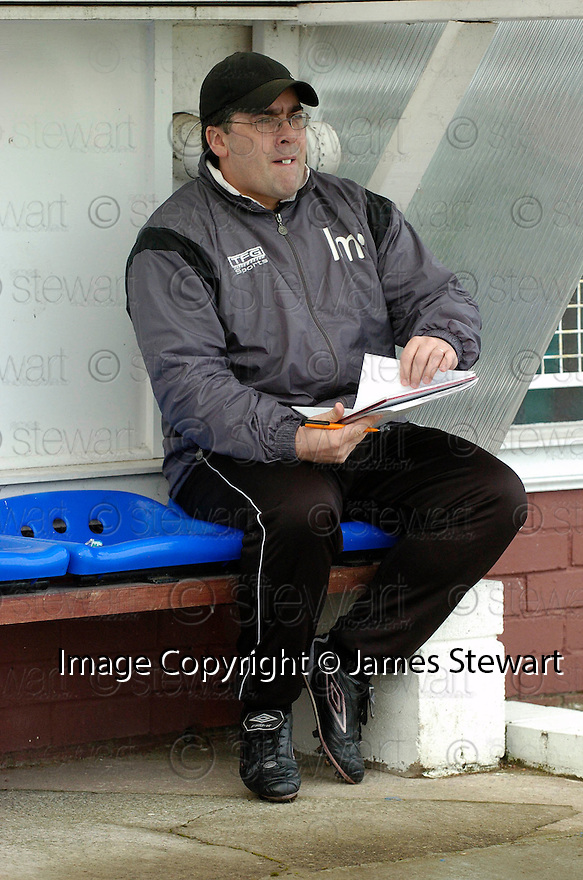 05/02/2005  Copyright Pic : James Stewart.File Name : jspa02_qots_v_dundee_utd.DUNDEE UTD MANAGER IAN MCCALL WORKS OUT HHIS TEAM'S TACTICS IN THE DUG OUT AN HOUR BEFORE THE START OF THE SCOTTISH CUP 4TH ROUND CLASH AGAINST QUEEN OF THE SOUTH...Payments to :.James Stewart Photo Agency 19 Carronlea Drive, Falkirk. FK2 8DN      Vat Reg No. 607 6932 25.Office     : +44 (0)1324 570906     .Mobile   : +44 (0)7721 416997.Fax         : +44 (0)1324 570906.E-mail  :  jim@jspa.co.uk.If you require further information then contact Jim Stewart on any of the numbers above.........A