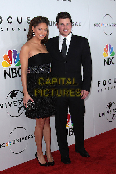 VANESSA MINNILLO & NICK LACHEY.NBC Universal's 67th Annual Golden Globe After Party held at Beverly  Hilton, Beverly Hills, California, USA..January 17th 2010.globes full length black suit strapless dress clutch bag couple layers layered frills .CAP/ADM/TC.©T.Conrad/Admedia/Capital Pictures