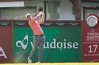 Lucas Bjerregaard (DEN) watches his tee shot on the 17th hole during second round at the Omega European Masters, Golf Club Crans-sur-Sierre, Crans-Montana, Valais, Switzerland. 30/08/19.<br /> Picture Stefano DiMaria / Golffile.ie<br /> <br /> All photo usage must carry mandatory copyright credit (© Golffile | Stefano DiMaria)